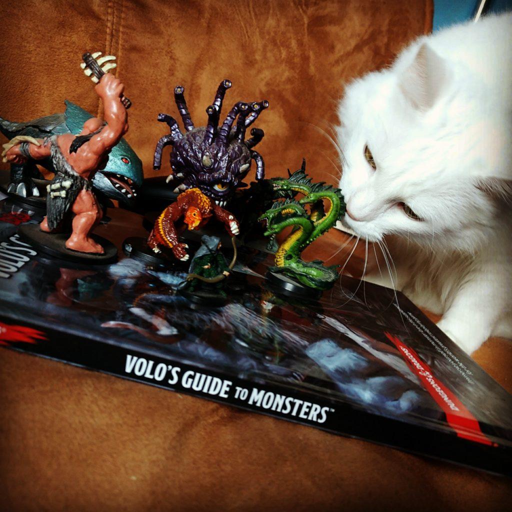 Um gato comento miniaturas de RPG em cima do livro